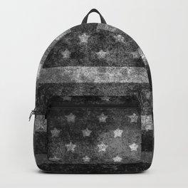 Black and White USA Flag in Grunge Backpack