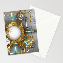 Steampunk Round Banner with Pressure Gauge Stationery Cards