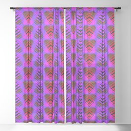 Purple hearts in red striped on a pink background. Sheer Curtain