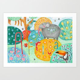 Colorful fantasy animals in Africa Art Print
