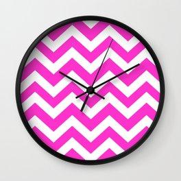 Razzle dazzle rose - fuchsia color - Zigzag Chevron Pattern Wall Clock