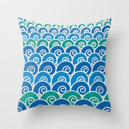 Blue Beach Waves Throw Pillow