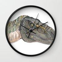 t rex Wall Clocks featuring T-Rex by Raffles Bizarre