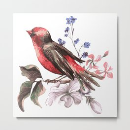 Beautiful bird on a branch with blooming flowers Metal Print