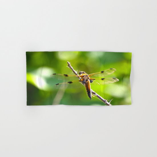 Dragonfly On A Branch Of A Rose Hand & Bath Towel