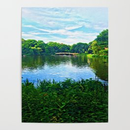 Central Park Bridge Over Peaceful Waters Poster