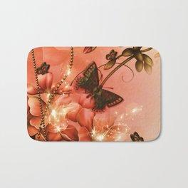 Wonderful flowers with butterflies Bath Mat