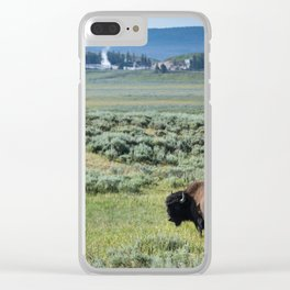 A Bull Bison Heads Towards Thermal Activity in the Hayden Valley of Yellowstone National Park Clear iPhone Case