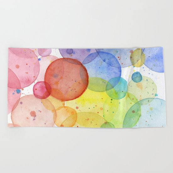 Watercolor Abstract Rainbow Circles and Splatters Beach Towel