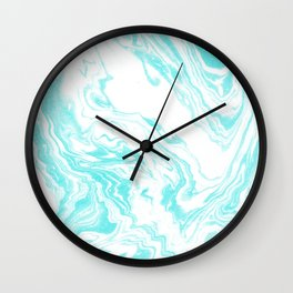 Mizuki - spilled ink abstract ocean swirl marbled paper marbling marble cell phone case Wall Clock