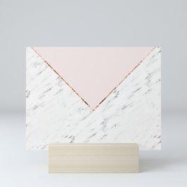 Peony blush geometric marble Mini Art Print