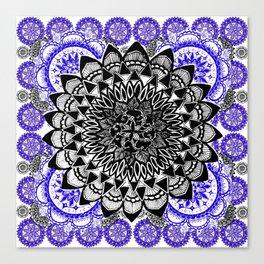 Blue and Black Patterned Mandala Canvas Print