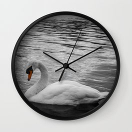 Swan in the Serpentine at Hyde Park Wall Clock