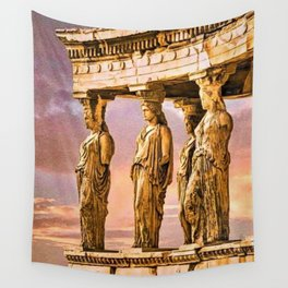 Porch of the Caryatids, Temple of Athena, Acropolis, Greece Portrait Painting Wall Tapestry
