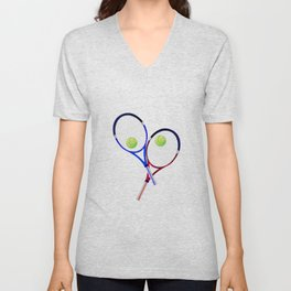 Tennis Racket And Ball Doubles Unisex V-Neck
