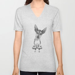 Yogi Doggie cute dog in yoga asana , cool funny design Unisex V-Neck