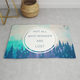 All Who Wander Travel Quote Rug