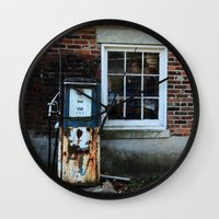 pocket fuel Wall Clocks featuring Fuel by 100 Watt Photography