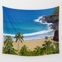 hawaiian Wall Tapestries featuring Hawaiian beach by Ricarda Balistreri
