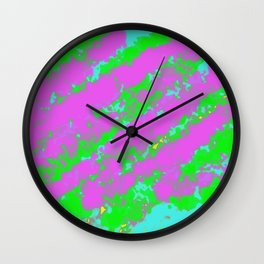painting abstract background in purple blue green and yellow Wall Clock