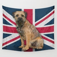 union jack Wall Tapestries featuring Border Terrier Union Jack Design by Moonlake Designs