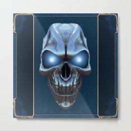 Skull with glowing blue eyes Metal Print