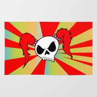 rock n roll Area & Throw Rugs featuring Rock-N-Roll Brat  by Los Espada Art