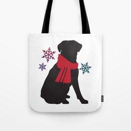 Black Dog Winter Tote Bag