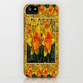 Tapestry Style Green Golden Daffodils Pattern Art iPhone Case