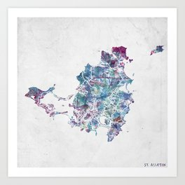 St Martin map Art Print
