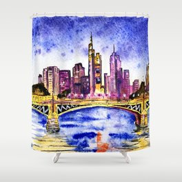 Skyline in Frankfurt, Germany - Urban landscape Shower Curtain