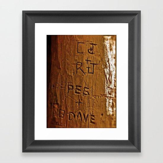 Carved Love Framed Art Print