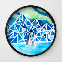 Aurora australis and icy mountains Wall Clock
