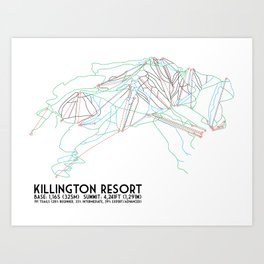 Killington, VT - Minimalist Trail Art Art Print