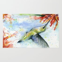 Hummingbird Red Flower Watercolor Bird Rug