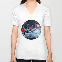 xmas V-neck T-shirts featuring Xmas Night by JuliSnowWhite