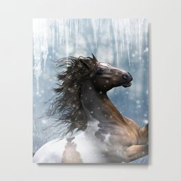 Mustang Horse in the snow Metal Print