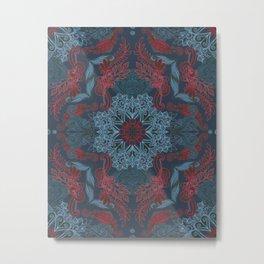 Vintage Fancy - a Pattern in Deep Teal & Red Metal Print