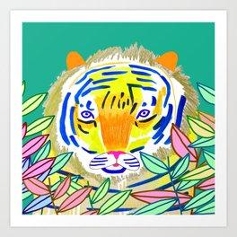 Tiger in Bushes. Art Print