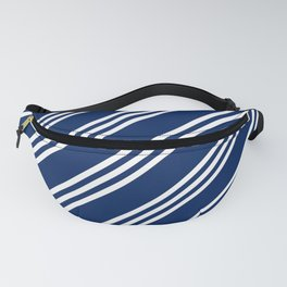 Navy and White Large Small Small Stripes Fanny Pack