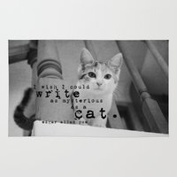 edgar allan poe Area & Throw Rugs featuring Cat Quote Edgar Allan Poe by KimberosePhotography