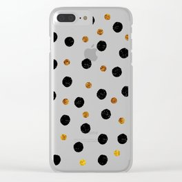 Black & Gold Glitter Confetti on white background- Elegant pattern Clear iPhone Case