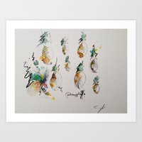 pineapples Art Prints featuring Pineapples  by Oriane Jouët