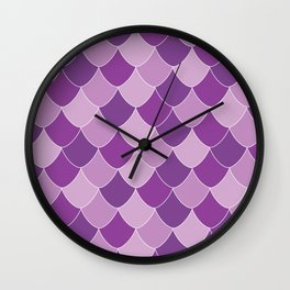 Purple Mermaid Seashell Repeated Patterns Wall Clock