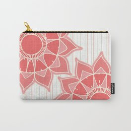 Pastel color coral pink floral mandala stripes Carry-All Pouch
