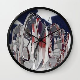 Rock in transparent letters with american flag Wall Clock