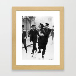 Suffragette Emmeline Pankhurst Being Arrested (May 1914) Framed Art Print