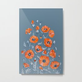Red poppies in grey Metal Print