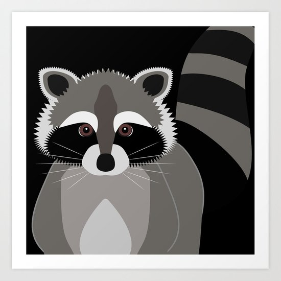 Raccoon in the Night by antiqueimages