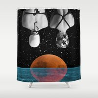 pool Shower Curtains featuring Planet Pool by Cs025